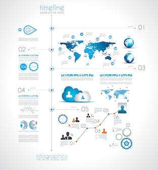 Línea de tiempo para mostrar sus datos con elementos de infografía