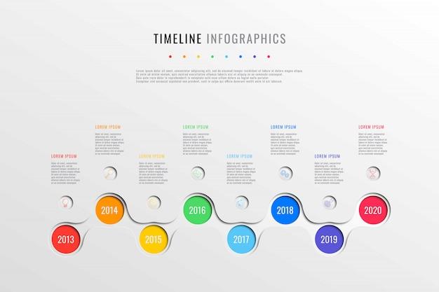 Línea de tiempo de negocio horizontal con ocho elementos redondos, indicación de año y cuadro de texto