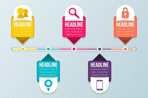 Línea de tiempo plana colorida infografía