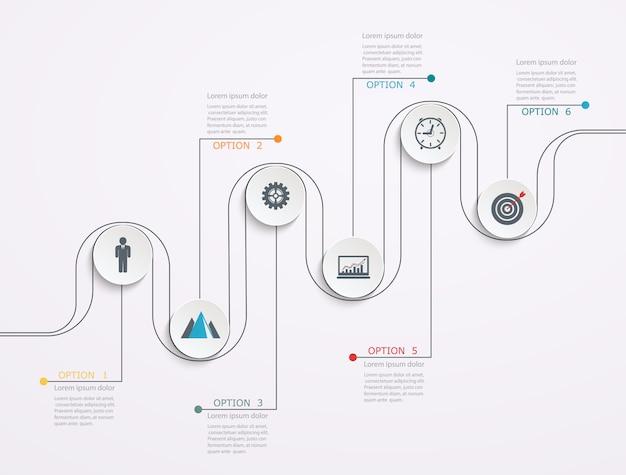 Línea de tiempo, plantilla de infografía con estructura escalonada