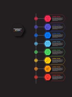 Línea de tiempo vertical infografía con elementos hexagonales sobre fondo negro. visualización de procesos empresariales modernos con iconos de línea de marketing.