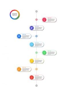 Línea de tiempo vertical infografía con elementos redondos sobre fondo blanco.