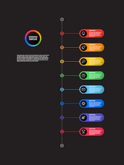 Línea de tiempo vertical infografía con elementos redondos
