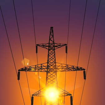 Línea de transmisión eléctrica al atardecer.