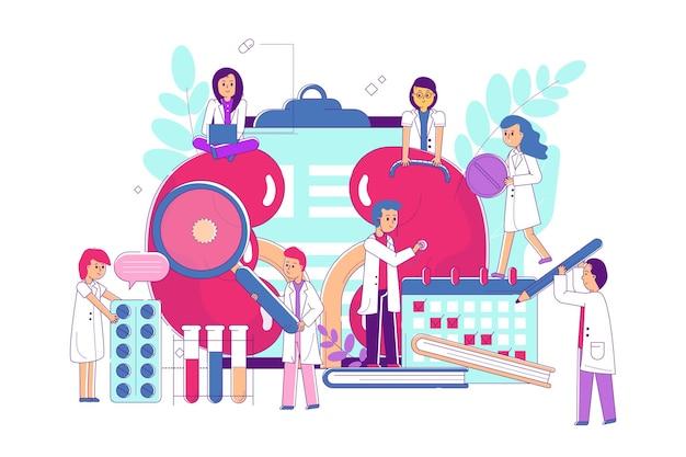 Línea de tratamiento de órganos en la ilustración de vector de hospital pequeño personaje médico plano preocuparse por los pulmones ...