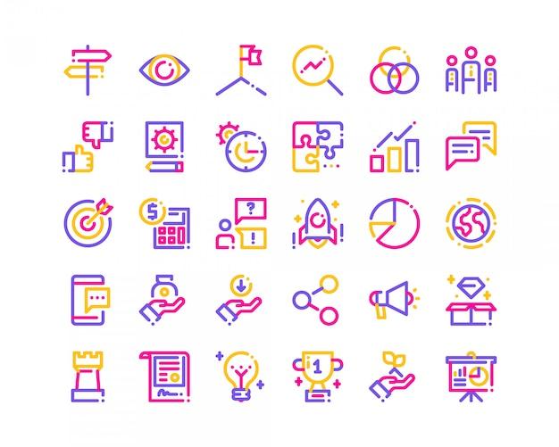 Línea tricolor de iconos de negocios.