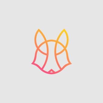 Línea de vector de cabeza de zorro