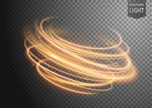 Línea de viento abstracta dorada de luz