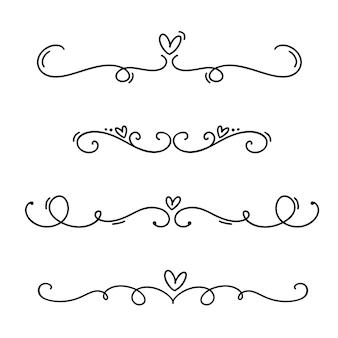 Línea vintage elegantes separadores y separadores de san valentín, remolinos y esquinas adornos decorativos.