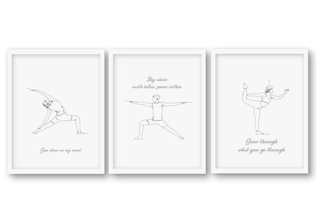 Una línea, yoga, pose, conjunto, cartel colección de ilustraciones