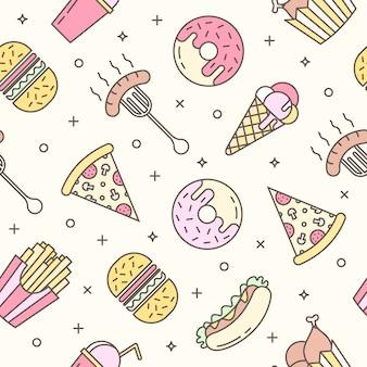 Lineal plana comida rápida iconos de patrones sin fisuras.