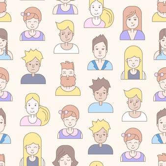 Lineal plana personas caras de patrones sin fisuras. social media avatar, foto de usuario y perfiles.