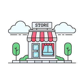 Lineal de una tienda de abarrotes o supermercado rojo