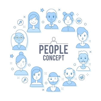 Linear personas planas caras ilustración. social media avatar, foto de usuario y perfiles.
