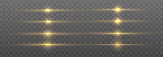 Líneas abstractas con efecto de luz resplandor. flash con rayos y foco. efectos de luces doradas aislados sobre fondo transparente. líneas brillantes de oro con conjunto de estrellas.
