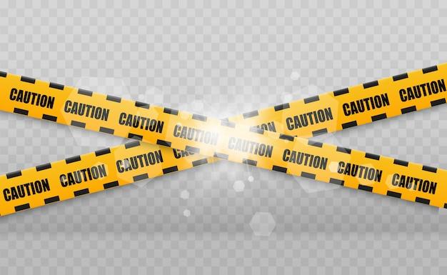 Líneas aisladas. cintas de advertencia. precaución. señales de peligro. ilustración. amarillo con línea policial negra y cintas de peligro. ilustración.