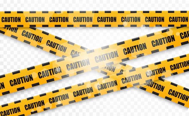 Líneas aisladas cintas de advertencia. precaución. señales de peligro ilustración vectorial amarillo con línea de policía negra y cintas de peligro. ilustración vectorial