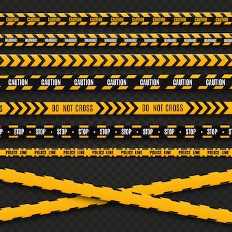 Líneas aisladas cintas de advertencia. precaución. señales de peligro