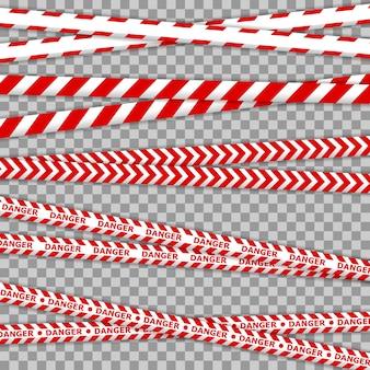 Líneas de cinta de peligro y policía para zonas de restricción y peligrosas. advertencia de peligro policial