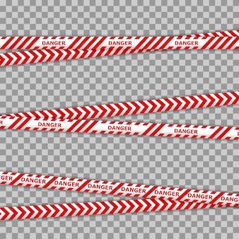 Líneas de cinta de peligro y policía para zonas de restricción y peligrosas. policía peligro precaución vector barrera amarilla. no cruzar la línea de seguridad