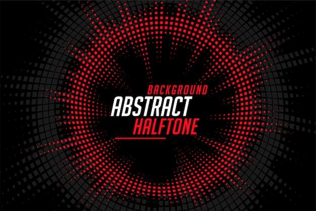 Líneas circulares de semitono abstracto rojo negro de fondo