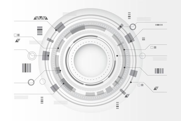 Líneas circulares tecnología fondo blanco.