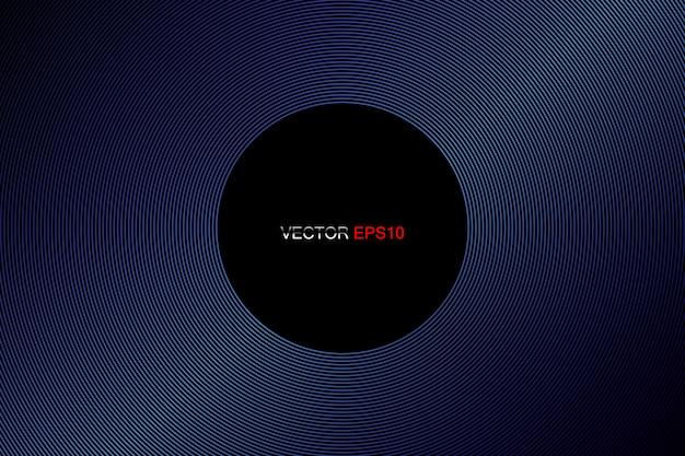 Líneas del círculo patrón marco en colores azules aislado fondo negro
