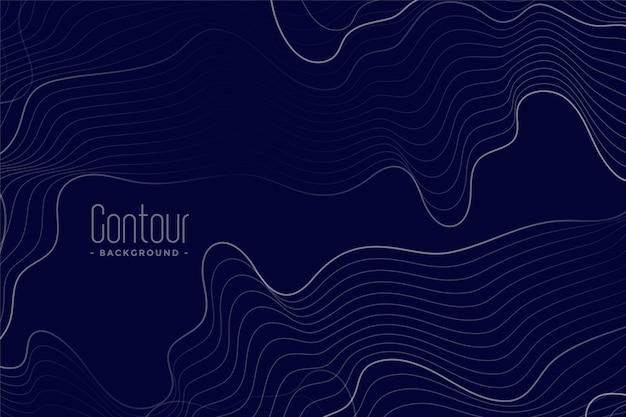 Líneas de contorno abstractas fondo azul oscuro