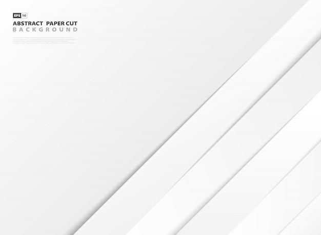 Las líneas de corte abstractas del libro blanco forman el fondo del diseño del modelo.