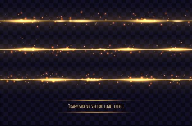 Líneas doradas brillantes con efectos de luz aislados en transparente oscuro