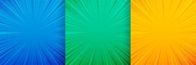 Líneas de enfoque de zoom cómico conjunto de fondo vacío