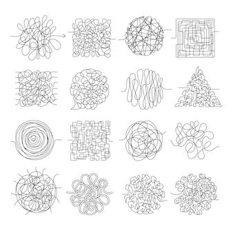 Líneas de garabatos wire mess caos threading formas vectoriales aisladas