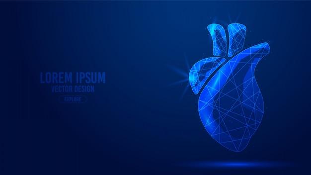 Líneas geométricas de órganos humanos del corazón, estructura metálica de estilo de triángulos de bajo polígono