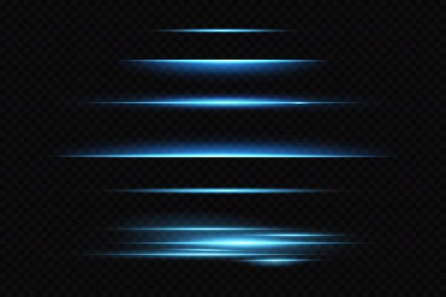 Líneas horizontales de neón, efecto de luz, láser brillante.
