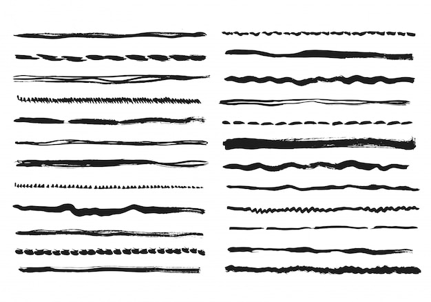 Líneas de lápiz. textura doodle trazos de línea a mano alzada tiza garabato línea negra bosquejo fronteras grunge divisores vectoriales hechos a mano aislados