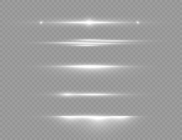 Líneas de luz blancas brillantes en transparente.