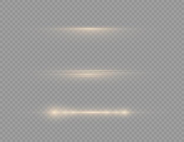 Líneas de luz doradas brillantes en transparente.