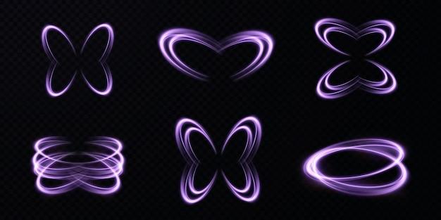 Líneas de luz de vector abstracto arremolinándose en una espiral