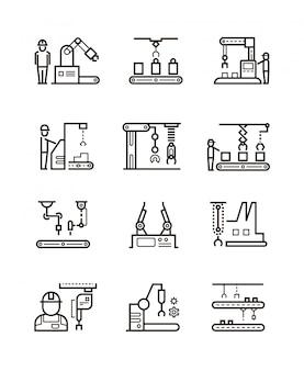 Líneas de montaje de fabricación robótica y transportador automático con iconos de línea de manipuladores