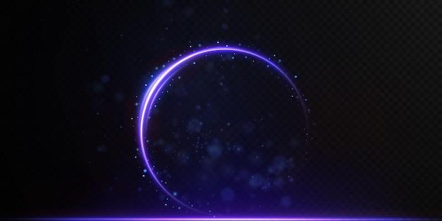 Líneas de neón de luz de vector abstracto arremolinándose en una espiral