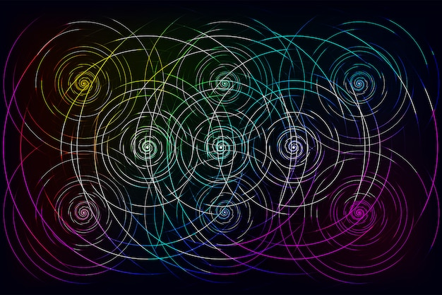 Líneas de onda coloridas abstractas que fluye sobre fondo negro