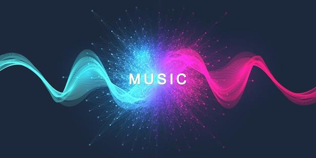 Líneas de onda de sonido de movimiento abstracto y puntos dinámicos