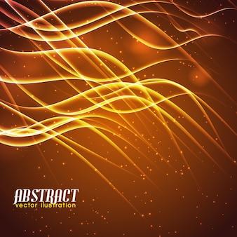 Líneas onduladas abstractas brillantes que brillan intensamente y efectos de luz sobre fondo marrón