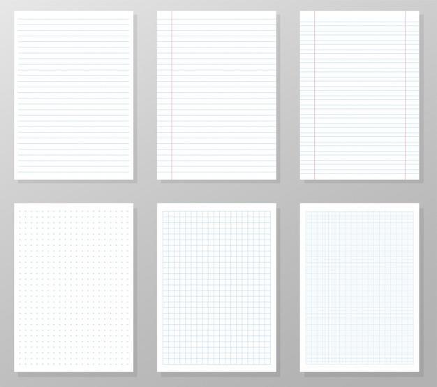 Líneas en papel para escribir texto y la línea guía para el trabajo de diseño.