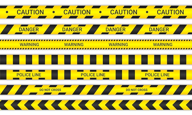 Líneas policiales y no cruces cintas. cintas de precaución y peligro en color amarillo y negro. colección de señales de advertencia aislado sobre fondo blanco. ilustración vectorial.