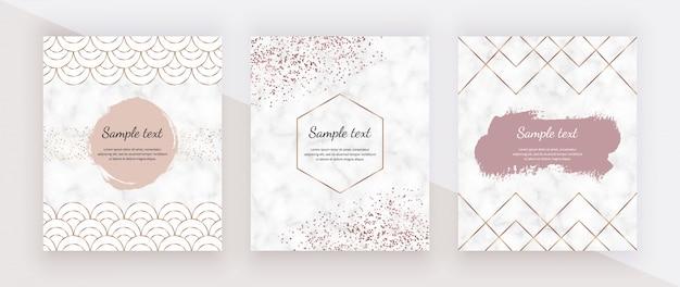 Líneas poligonales geométricas doradas, peces de escamas de sirena, confeti de oro rosa y trazo de pincel de acuarela y textura de mármol.