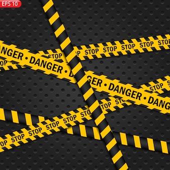 Líneas de precaución negras y de color aisladas. cintas de advertencia realistas. señales de peligro. antecedentes.