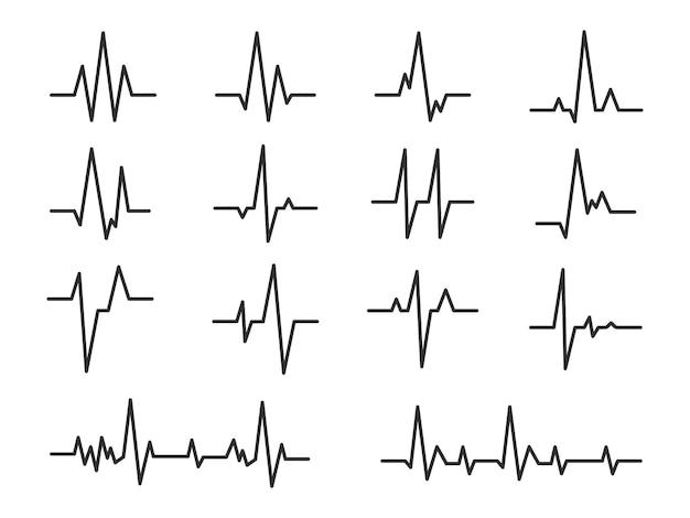 Líneas de pulso ecg y sinusoidal