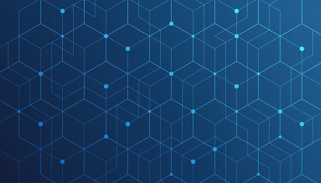 Las líneas y puntos abstractos se conectan en azul