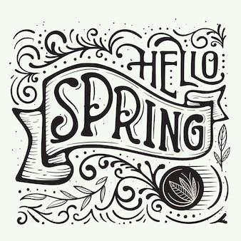 Líneas y puntos elegantes para las letras de hello spring